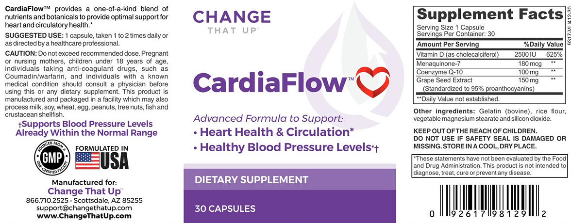 Change That Up CardiaFlow supplement facts nutrition label